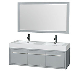 Wyndham Collection Axa 60-inch W 1-Drawer 2-Door Wall Mounted Vanity in Grey With Acrylic Top in White, Double Basins