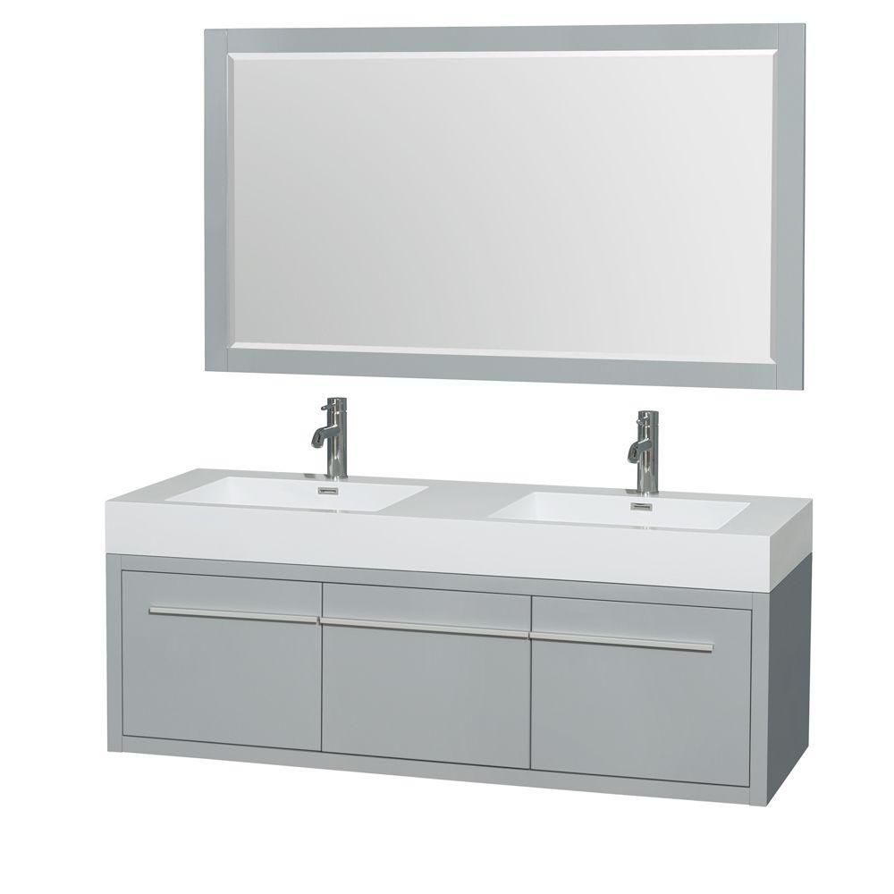 Axa 60-inch W Double Vanity in Dove Grey with Acrylic-Resin Top, Sinks and 58-inch Mirrors