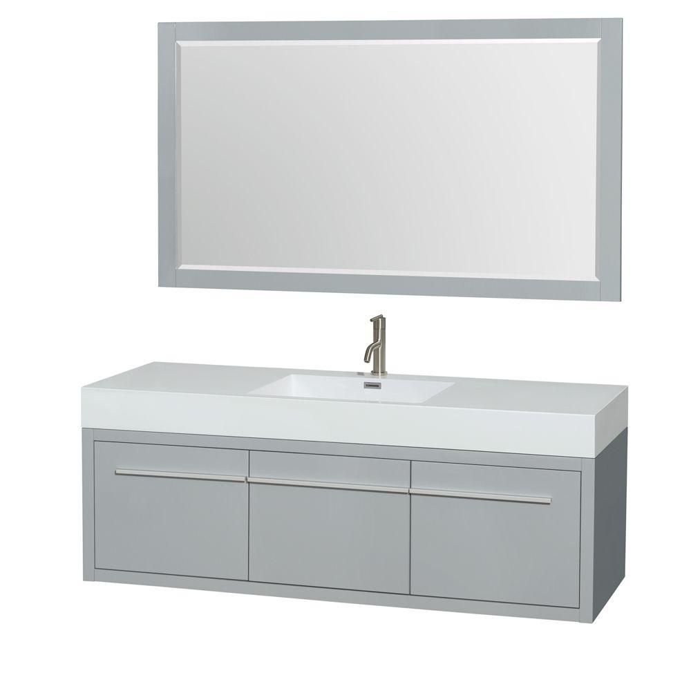 Axa 60-inch W Vanity in Dove Grey with Acrylic-Resin Top, Sink and 58-inch Mirror