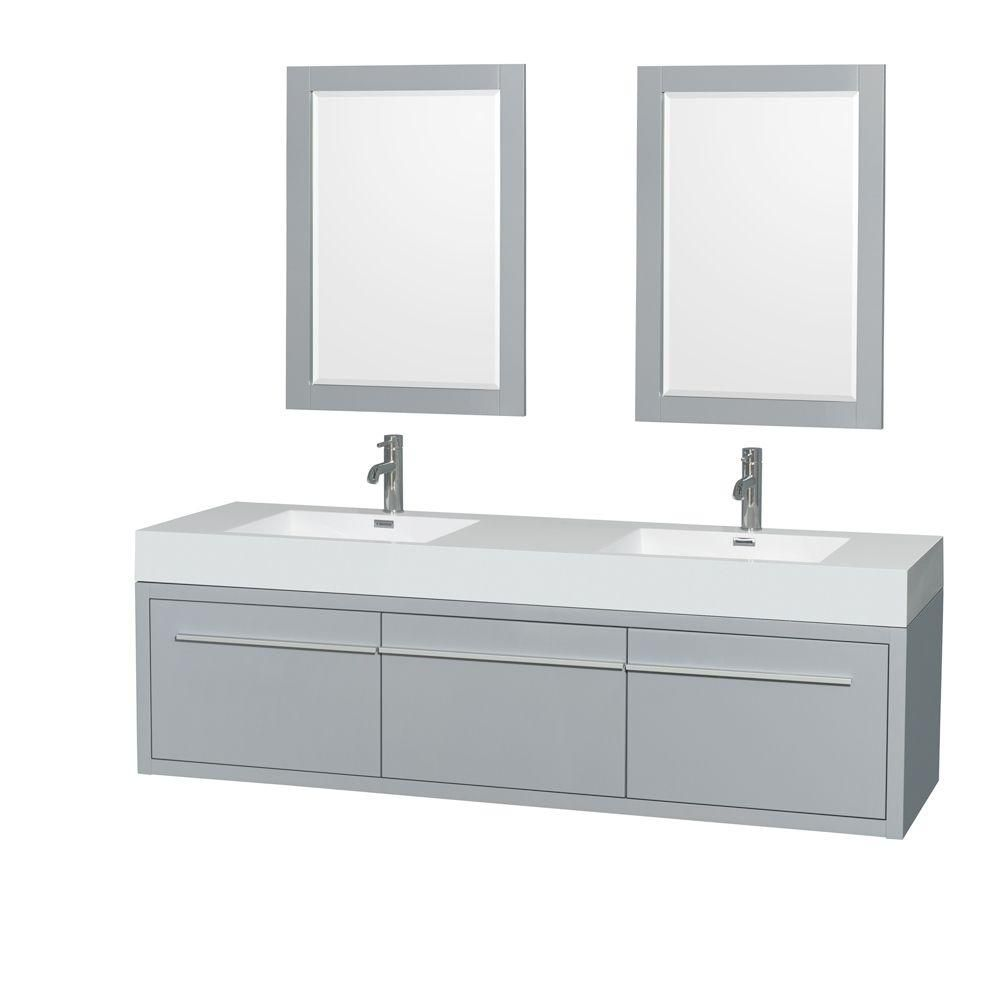 Axa 72-inch W Double Vanity in Dove Grey with Acrylic-Resin Top, Sinks and 24-inch Mirrors