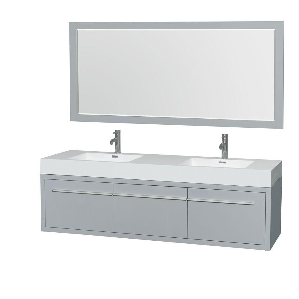 Axa 72-inch W Double Vanity in Dove Grey with Acrylic-Resin Top, Sinks and 70-inch Mirror
