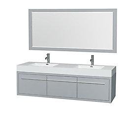 Wyndham Collection Axa 72-inch W 1-Drawer 2-Door Wall Mounted Vanity in Grey With Acrylic Top in White, Double Basins