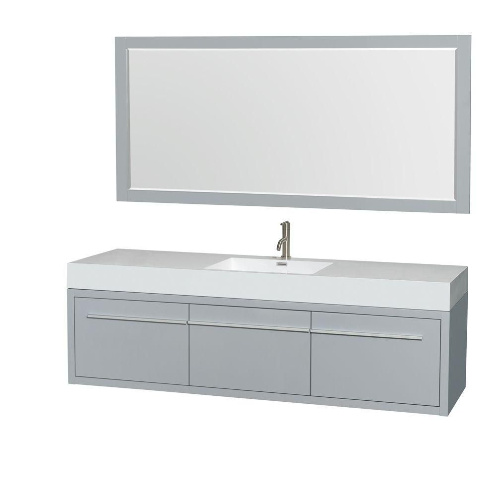 Axa 72-inch W Vanity in Dove Grey with Acrylic-Resin Top, Sink and 70-inch Mirror