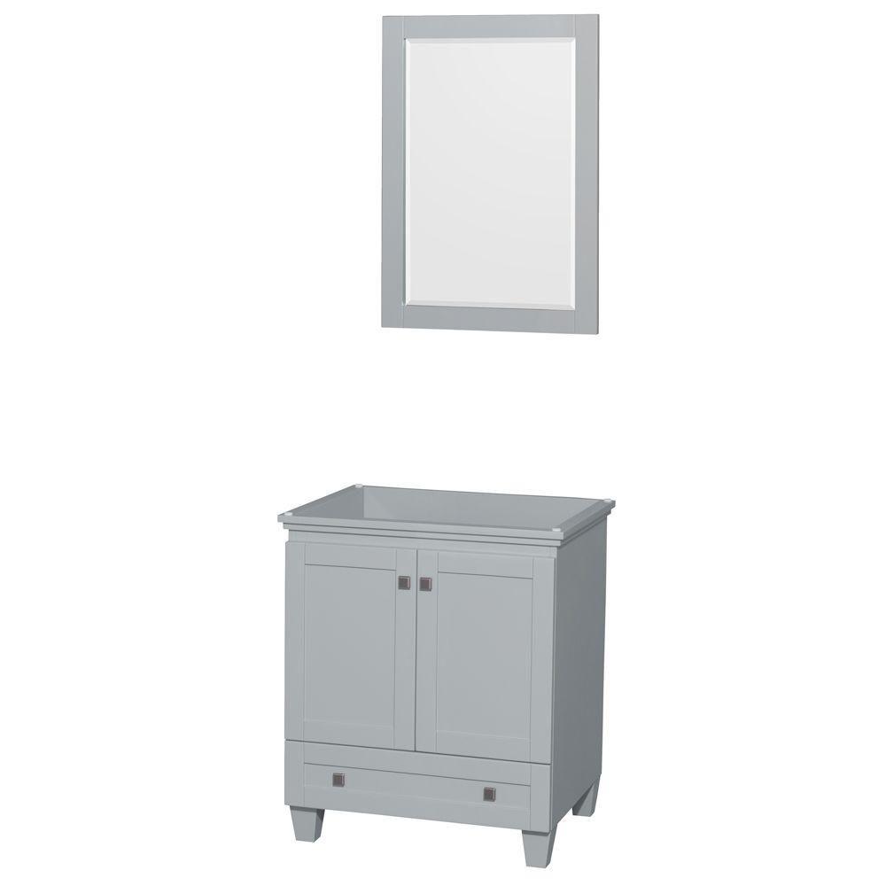 """Meuble de salle de bains simple Acclaim 30"""" gris huître, sans comptoir, sans év., miroir 24"""""""