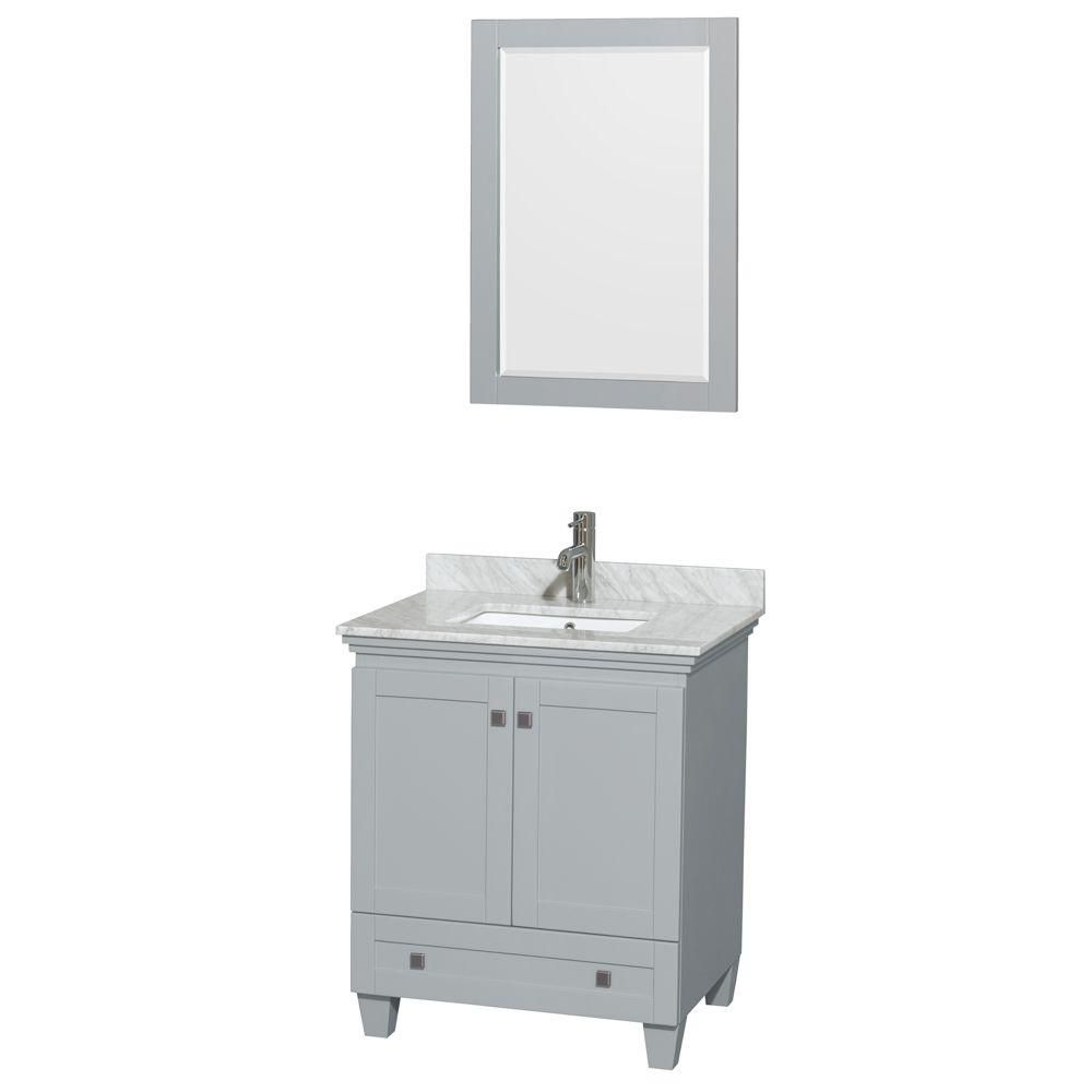 Acclaim 30-inch W Vanity in Oyster Grey with Top in White Carrara with Square Sink and Mirror