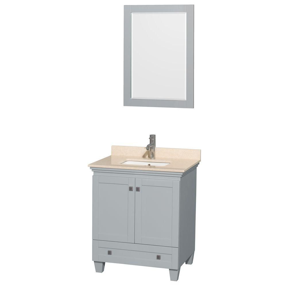 Wyndham Collection Acclaim 30-inch W 1-Drawer 2-Door Vanity in Grey With Marble Top in Beige Tan With Mirror