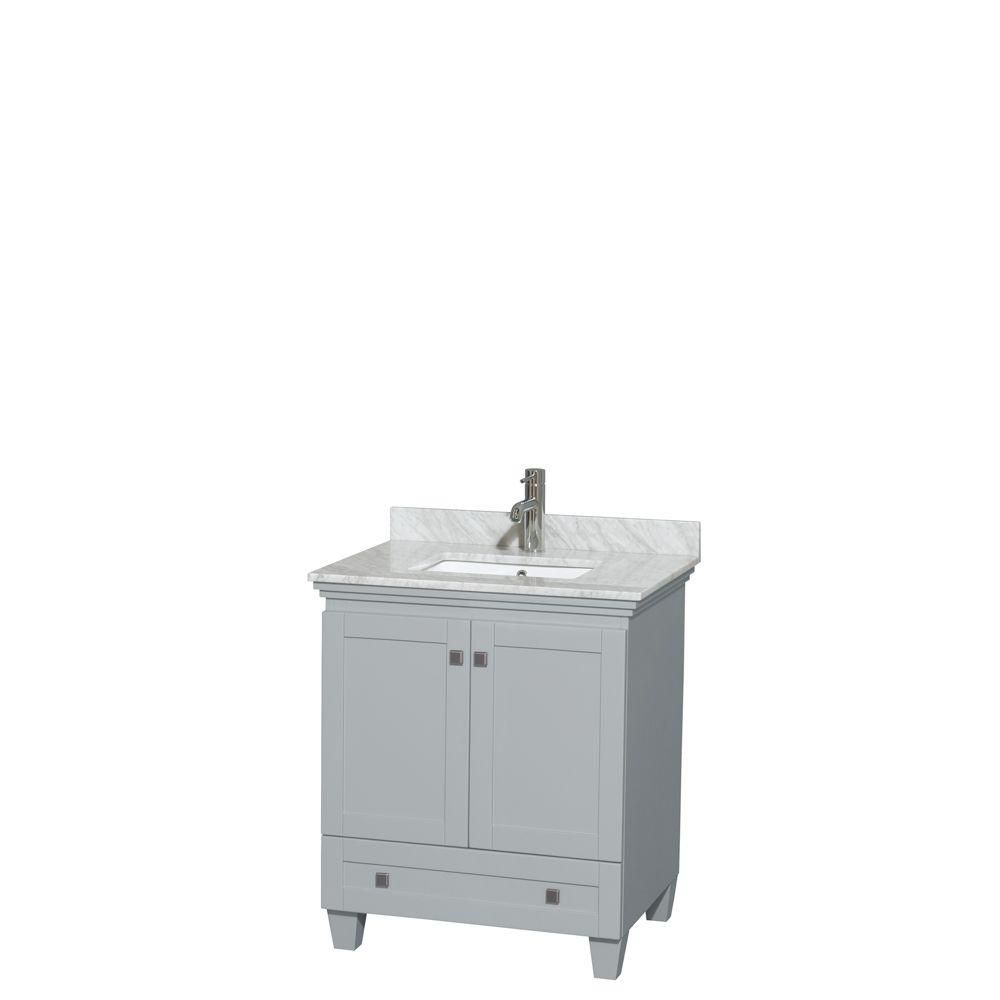 """Meuble s. bains simple Acclaim 30"""" gris huître, comptoir marbre Carrera blanc, év. carré UM, pas ..."""