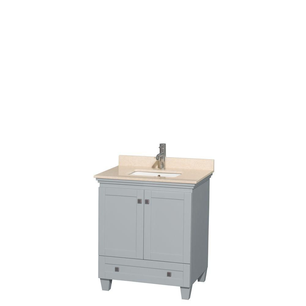 Acclaim 30-inch W Vanity in Oyster Grey with Marble Top in Ivory and Square Sink