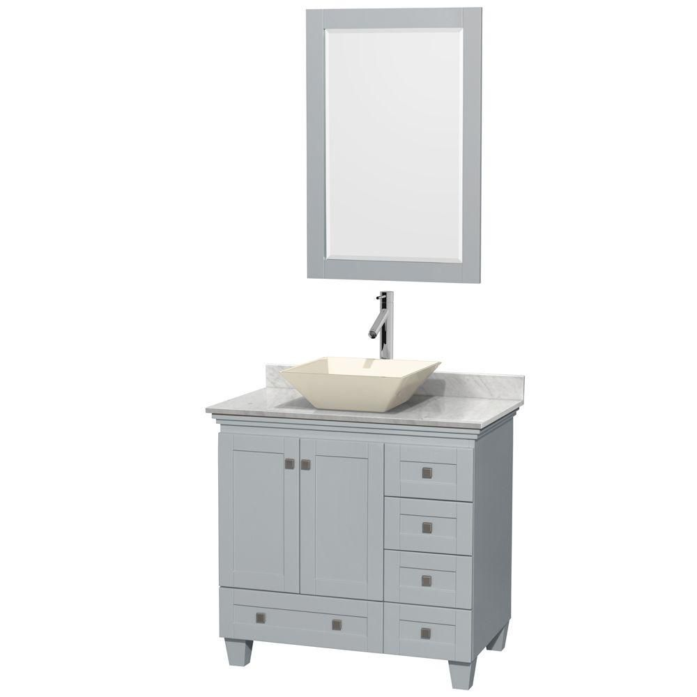 Acclaim 36-inch W Vanity in Oyster Grey with Carrara Top, Bone Porcelain Sink and Mirror