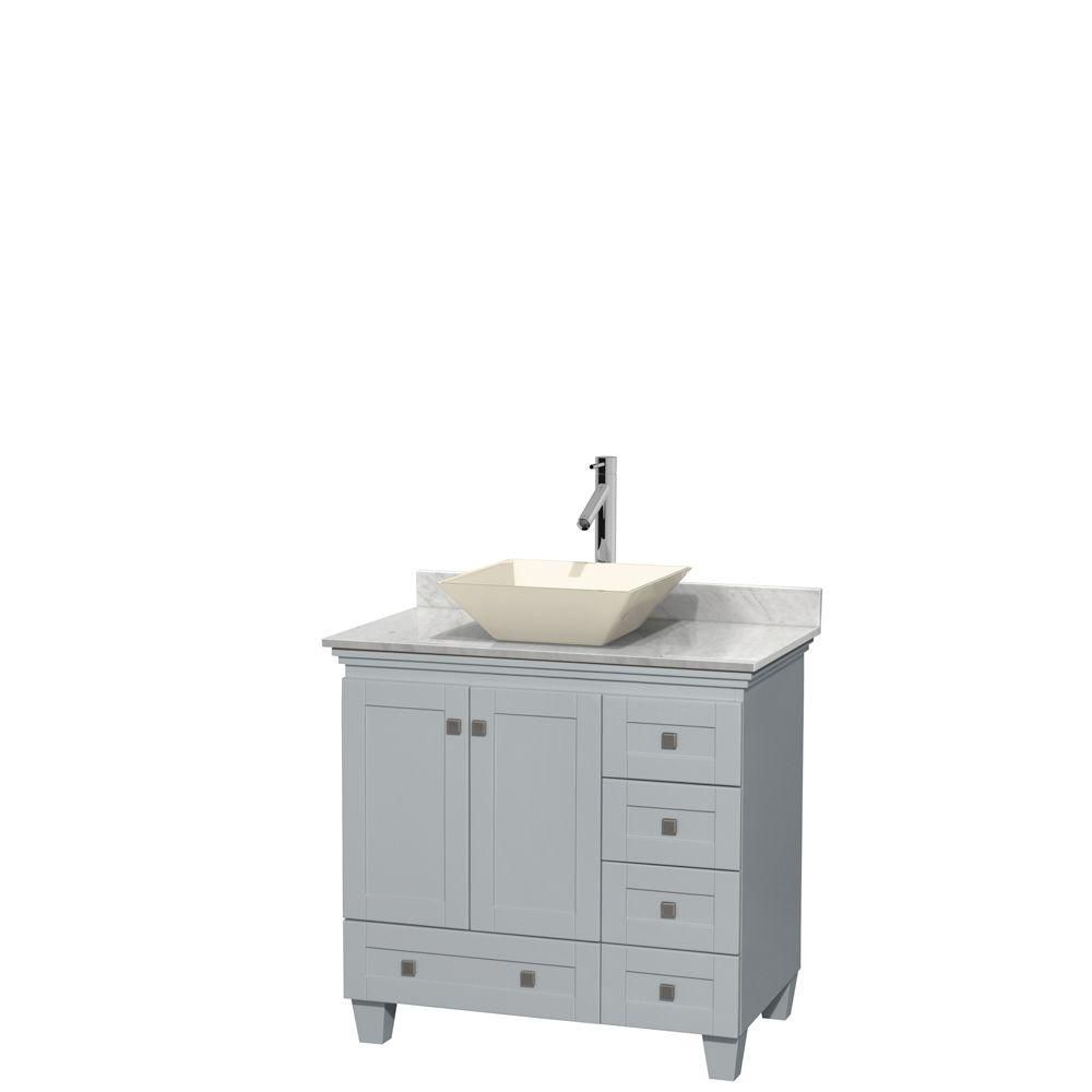 Acclaim 36-inch W Vanity in Oyster Grey with Carrara Top and Bone Porcelain Sink