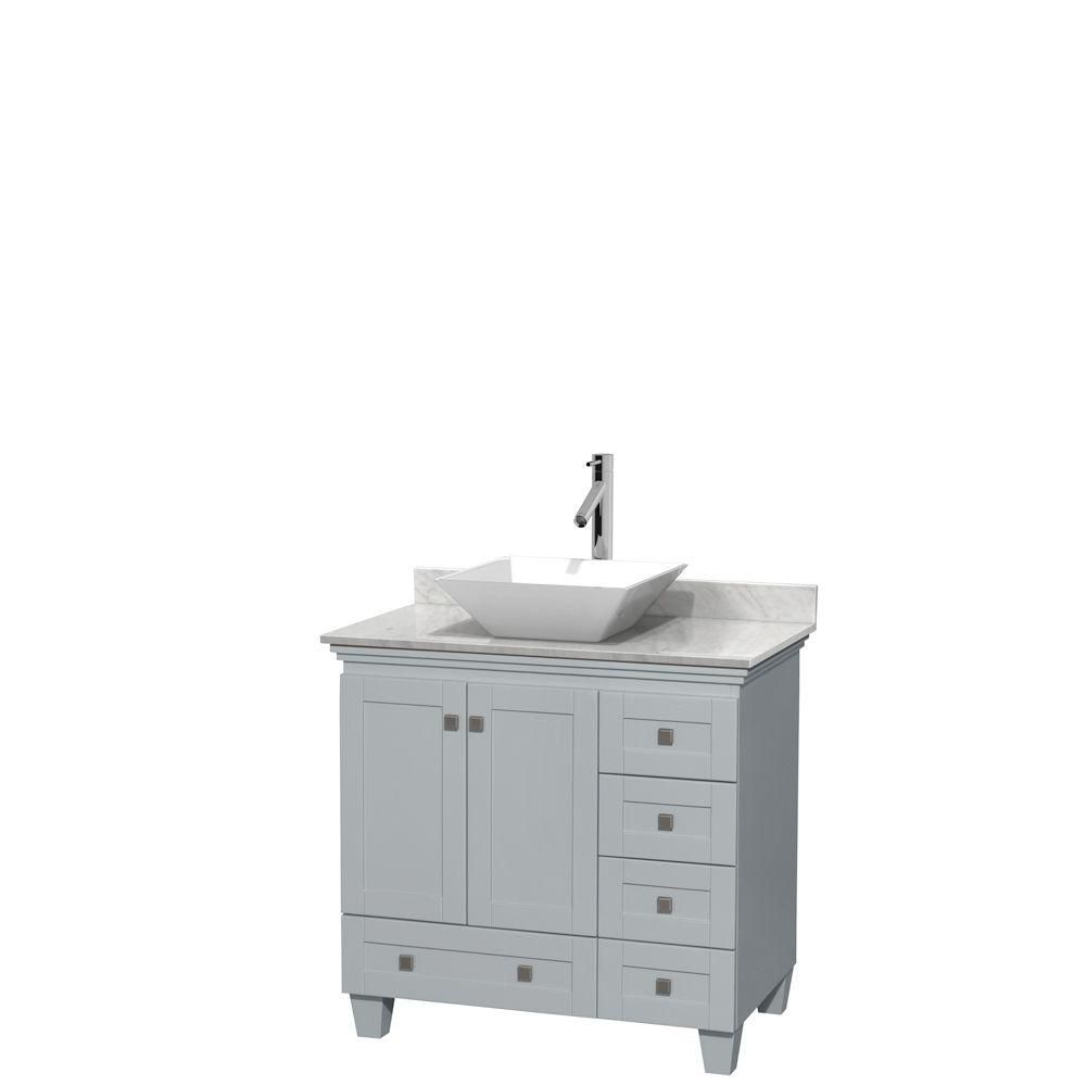 Acclaim 36-inch W Vanity in Oyster Grey with Carrara Top and White Porcelain Sink