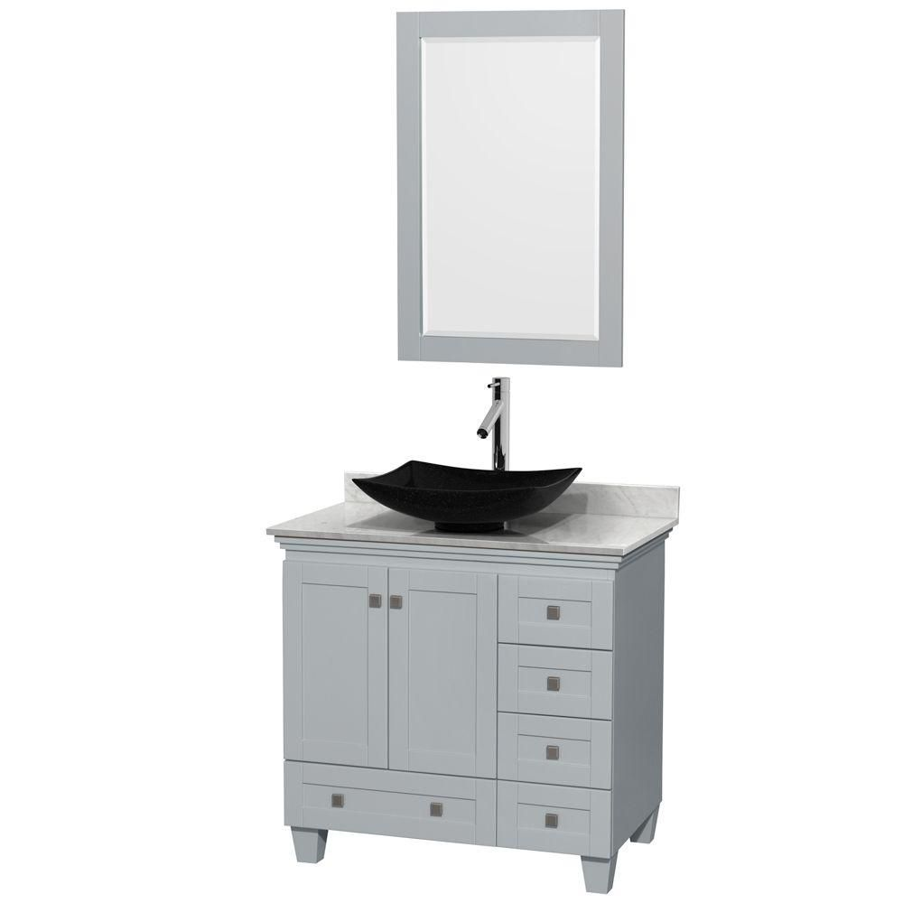Acclaim 36-inch W Vanity in Oyster Grey with Carrara Top, Granite Sink and Mirror
