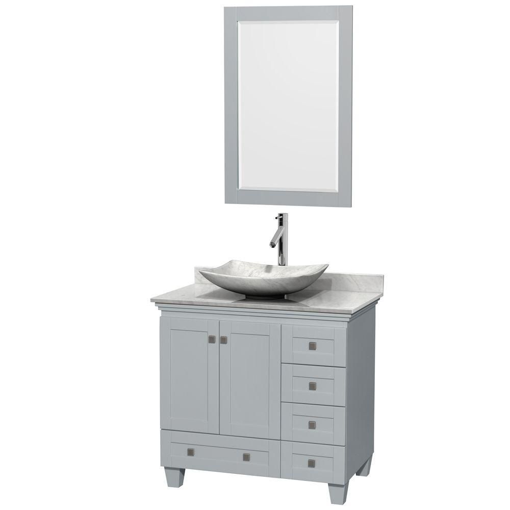Acclaim 36-inch W Vanity in Oyster Grey with Carrara Top, Carrara Sink and Mirror