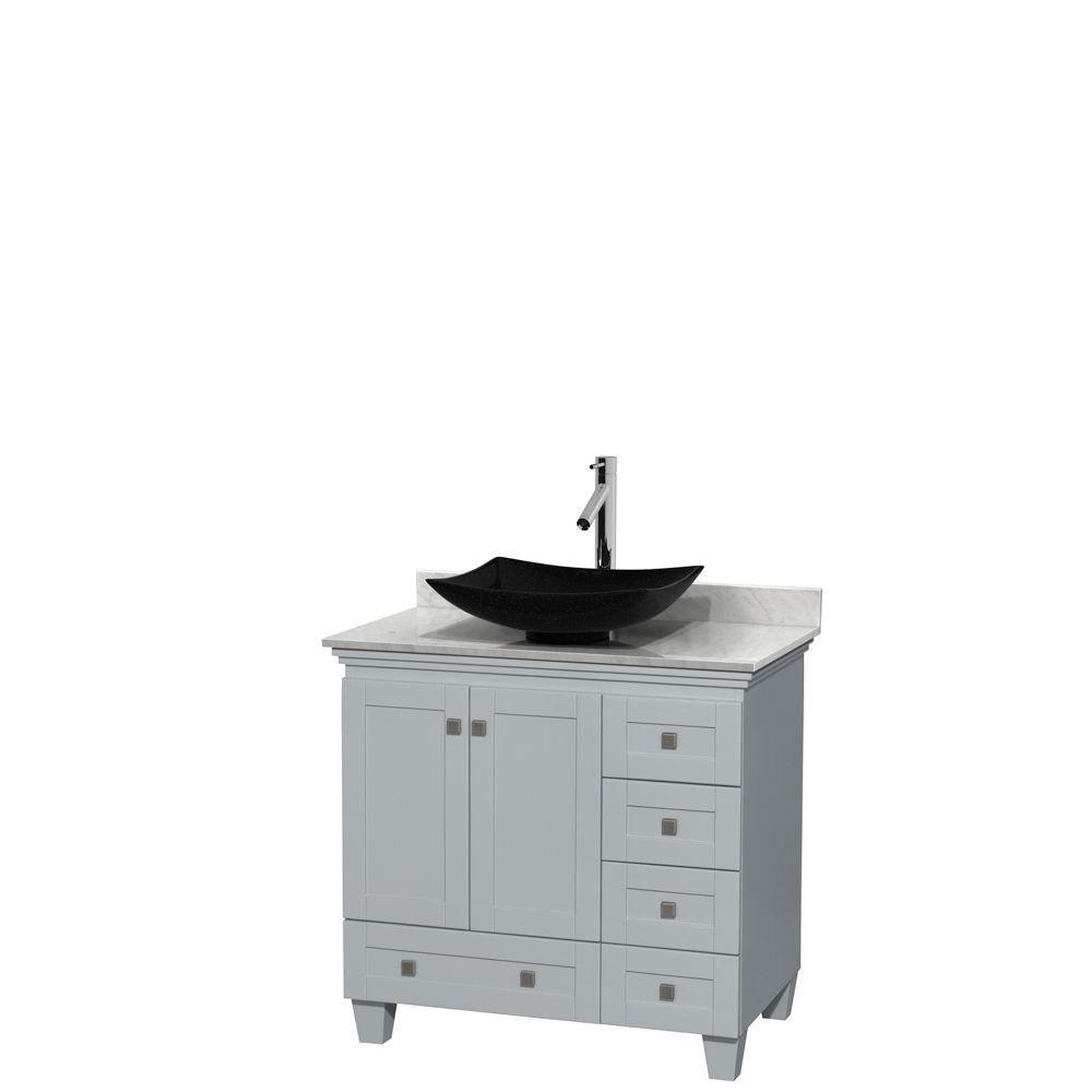 """Meuble s. bains simple Acclaim 36"""" gris huître, compt marbre Carrera blanc, év. granit n, mir 24"""""""