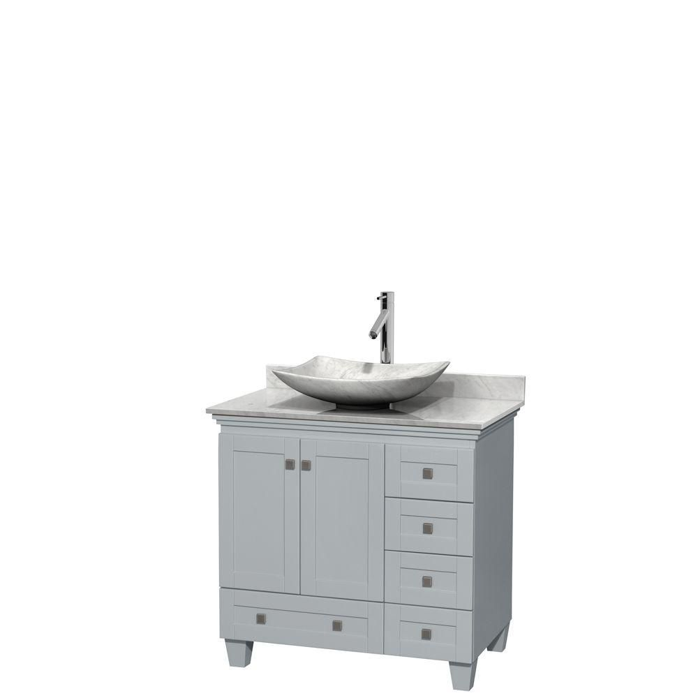 Acclaim 36-inch W Vanity in Oyster Grey with Carrara Top and White Carrara Sink