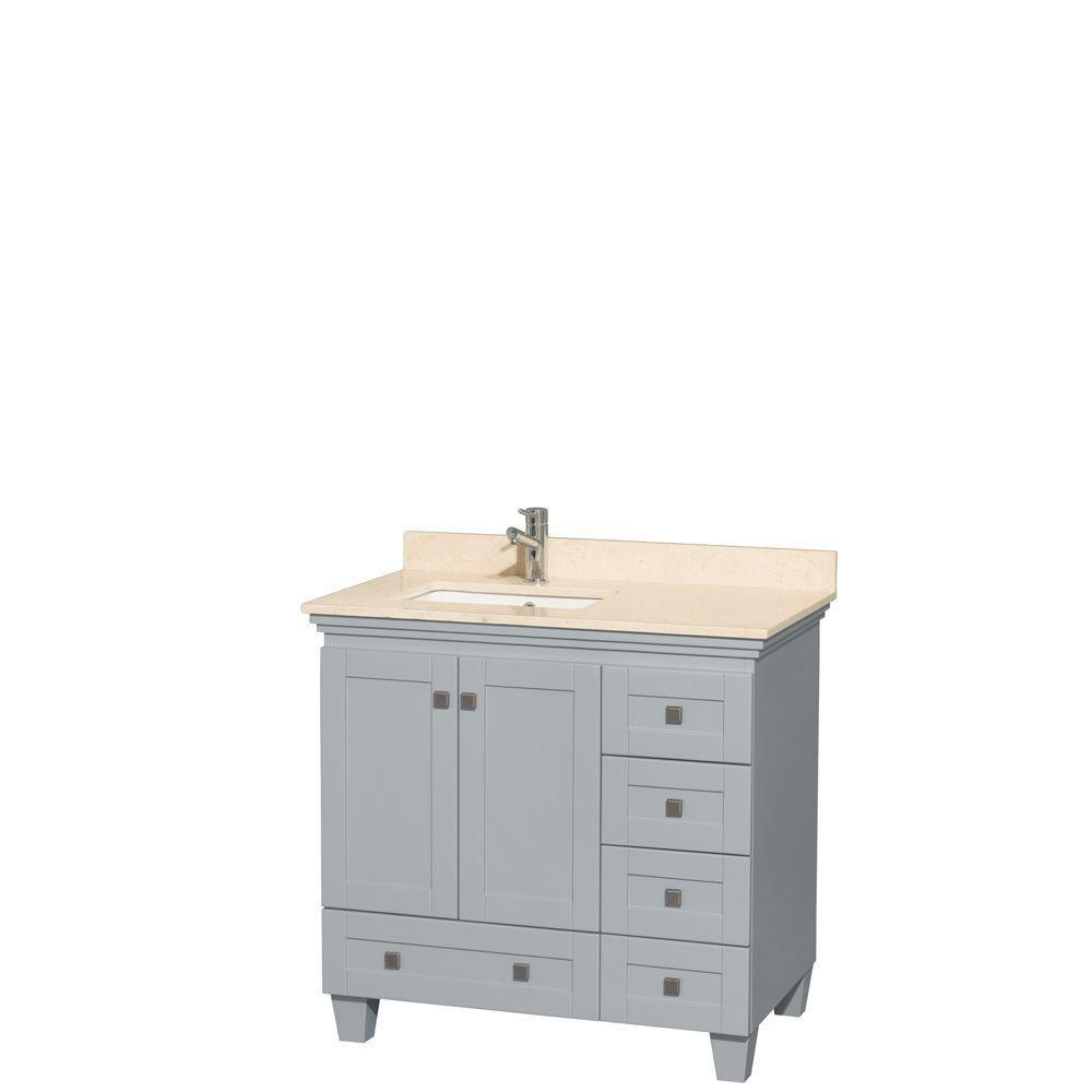 """Meuble s. bains simple Acclaim 36"""" gris huître, comptoir marbre ivoire, év. carré UM, pas mir"""