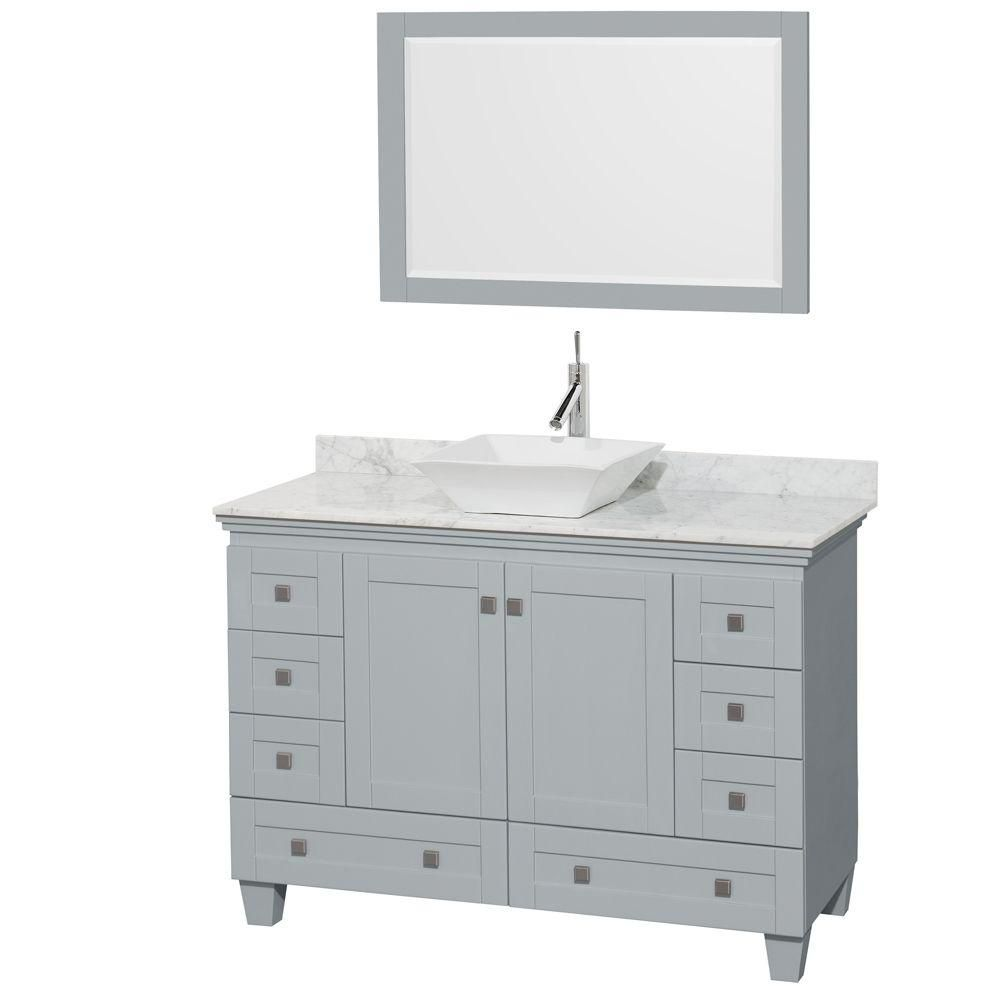 Acclaim 48-inch W Vanity in Oyster Grey with Carrara Top, White Porcelain Sink and Mirror