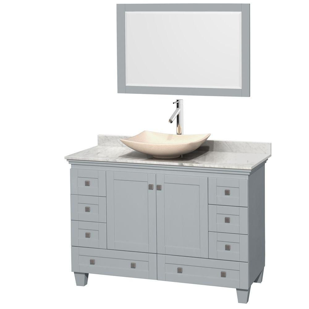 Acclaim 48-inch W Vanity in Oyster Grey with Carrara Top, Marble Sink and Mirror