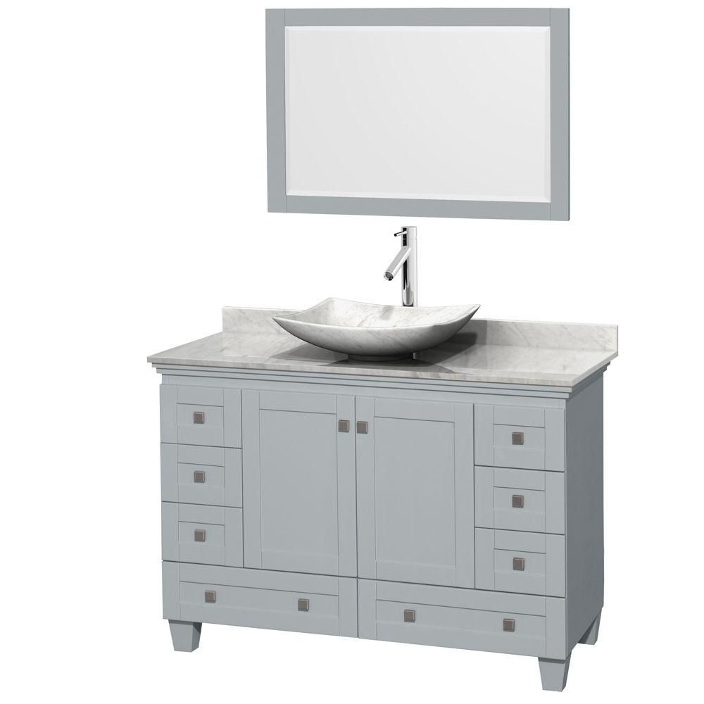 Acclaim 48-inch W Vanity in Oyster Grey with Carrara Top, Carrara Sink and Mirror
