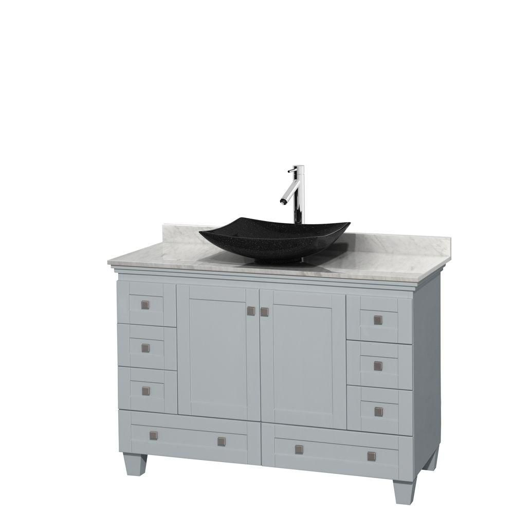 Wyndham Collection Acclaim 48-inch W 8-Drawer 2-Door Freestanding Vanity in Grey With Marble Top in White