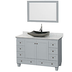 Wyndham Collection Acclaim 48-inch W 8-Drawer 2-Door Freestanding Vanity in Grey With Marble Top in White With Mirror
