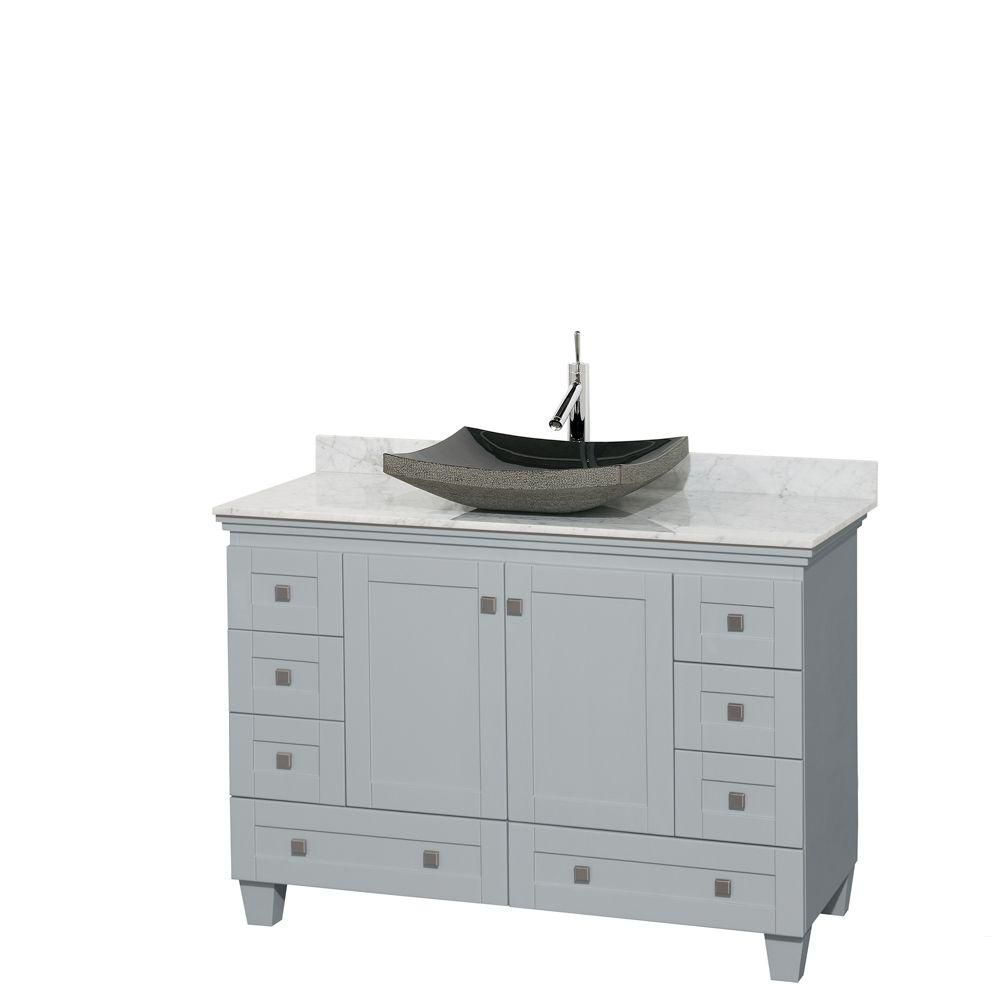 Acclaim 48-inch W Vanity in Oyster Grey with Carrara Top and Black Granite Sink