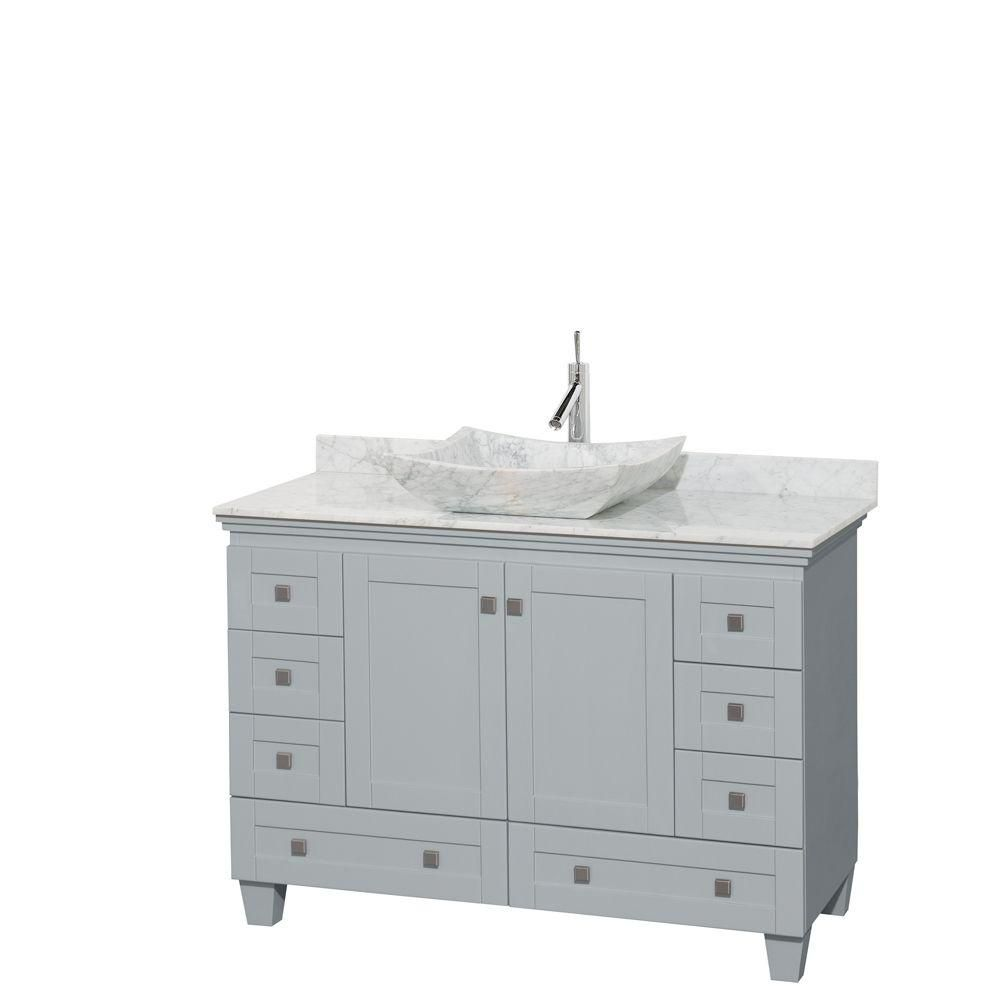 Acclaim 48-inch W Vanity in Oyster Grey with Carrara Top and White Carrara Sink