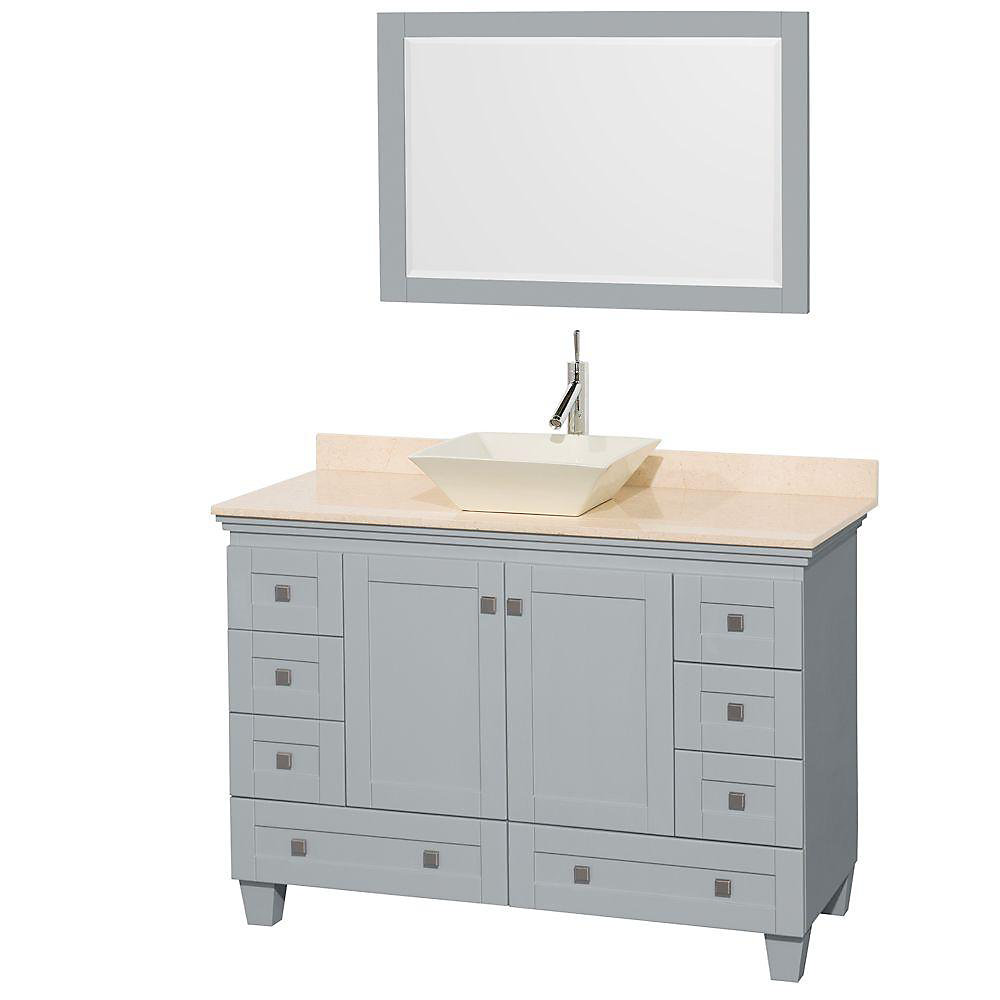 Acclaim 48-inch W 8-Drawer 2-Door Vanity in Grey With Marble Top in Beige Tan With Mirror