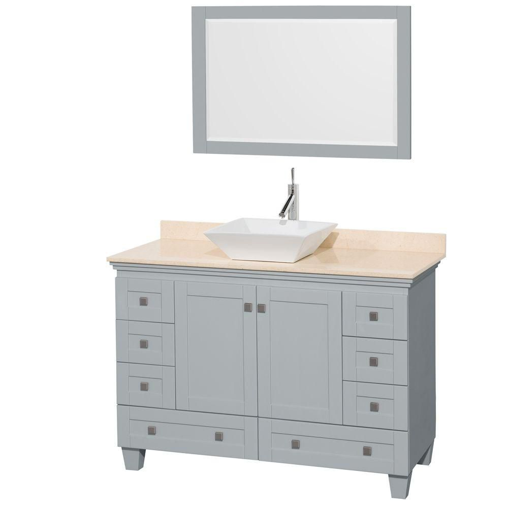 Acclaim 48-inch W Vanity in Oyster Grey with Marble Top, White Porcelain Sink and Mirror