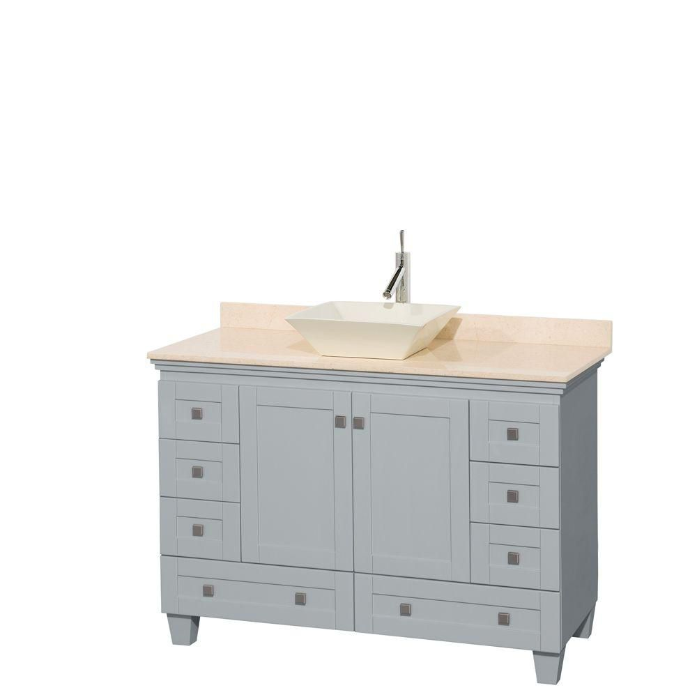 Acclaim 48-inch W Vanity in Oyster Grey with Marble Top and Bone Porcelain Sink