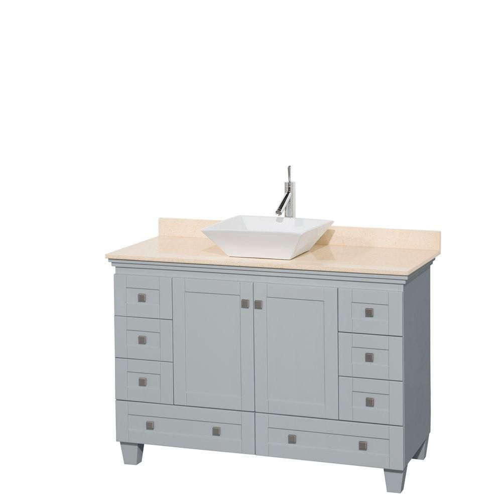 Acclaim 48-inch W Vanity in Oyster Grey with Marble Top and White Porcelain Sink