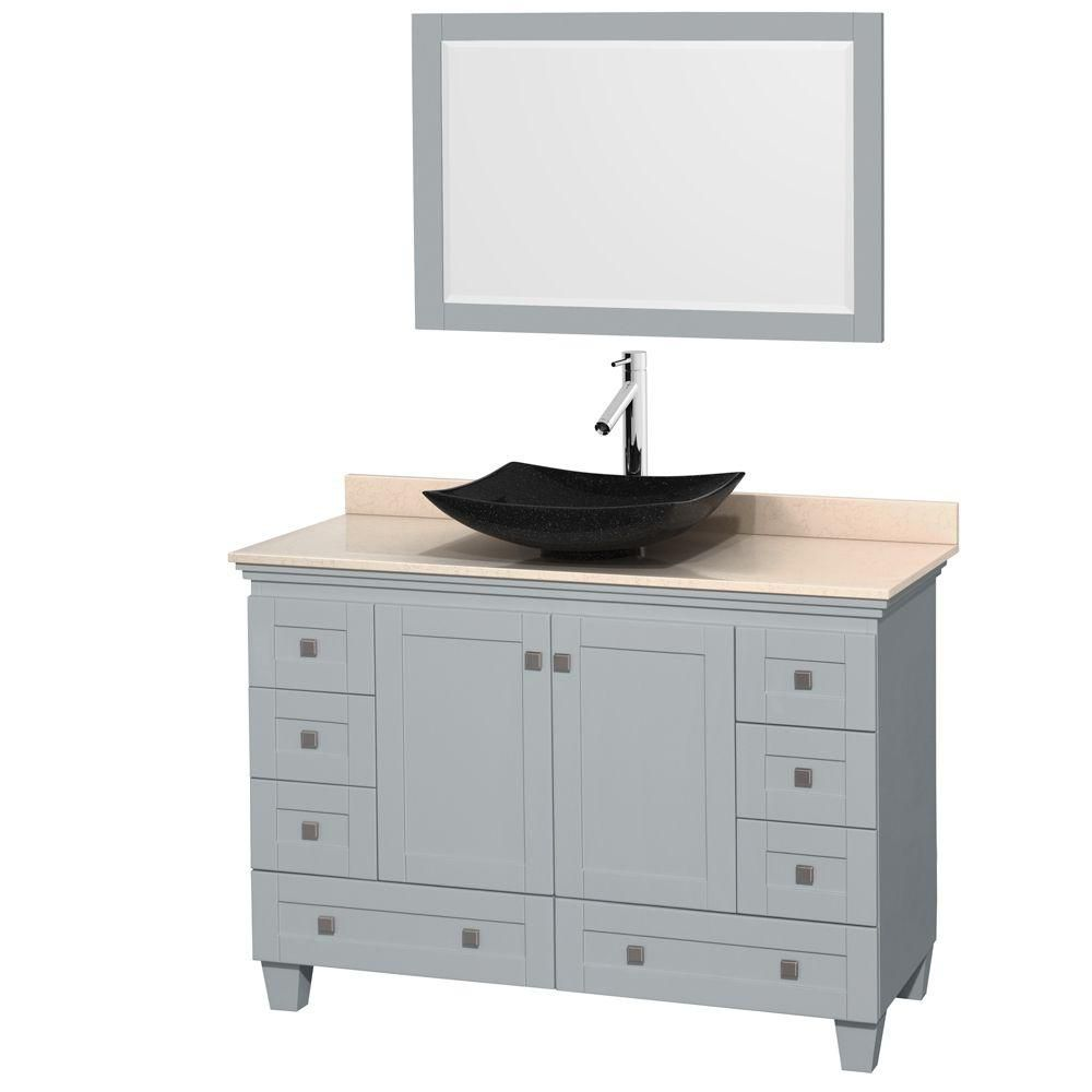Acclaim 48-inch W Vanity in Oyster Grey with Marble Top, Granite Sink and Mirror