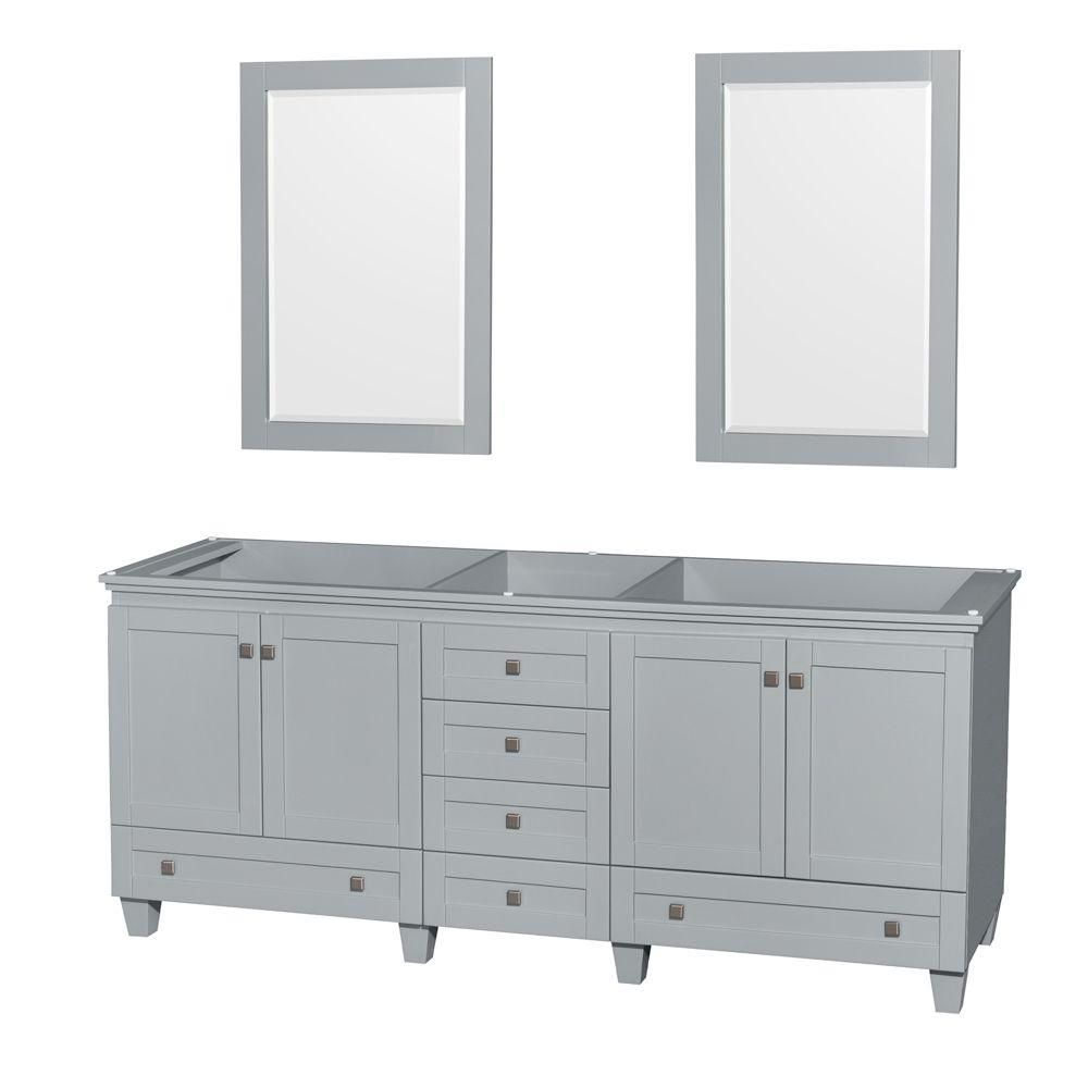 Wyndham Collection Acclaim 80-Inch  Double Vanity Cabinet with Mirrors in Oyster Grey