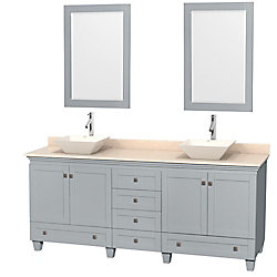 Wyndham Collection Acclaim 80-inch W 6-Drawer 4-Door Vanity With Marble Top in Beige Tan, Double Basins With Mirror