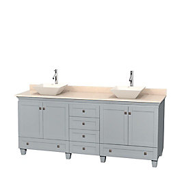 Wyndham Collection Acclaim 80-inch W 6-Drawer 4-Door Freestanding Vanity With Marble Top in Beige Tan, Double Basins