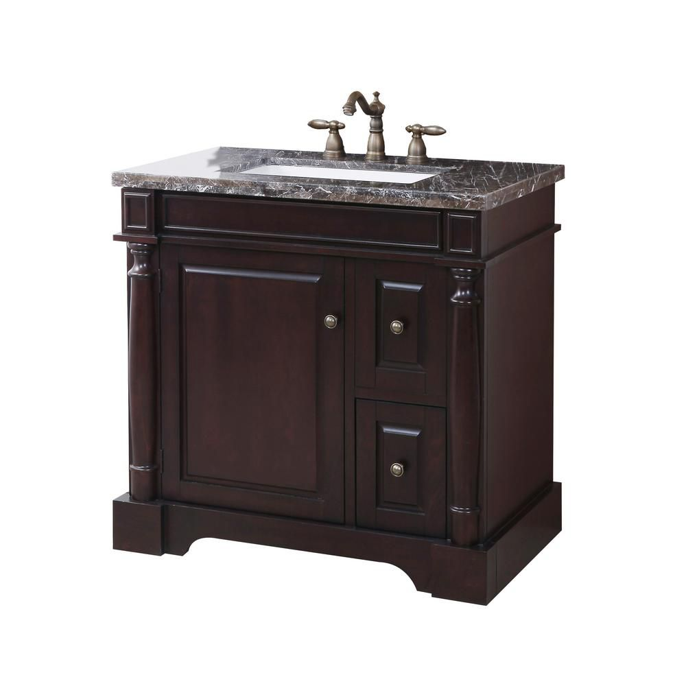 Hancock Vanity Base in Brown Finish with Marble Top and Sink