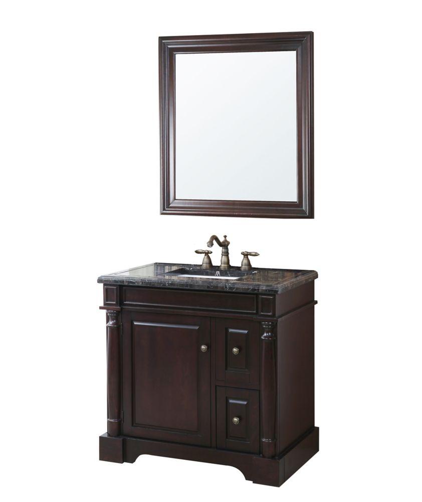 Hancock Vanity Base, Haut, lavabo et un miroir
