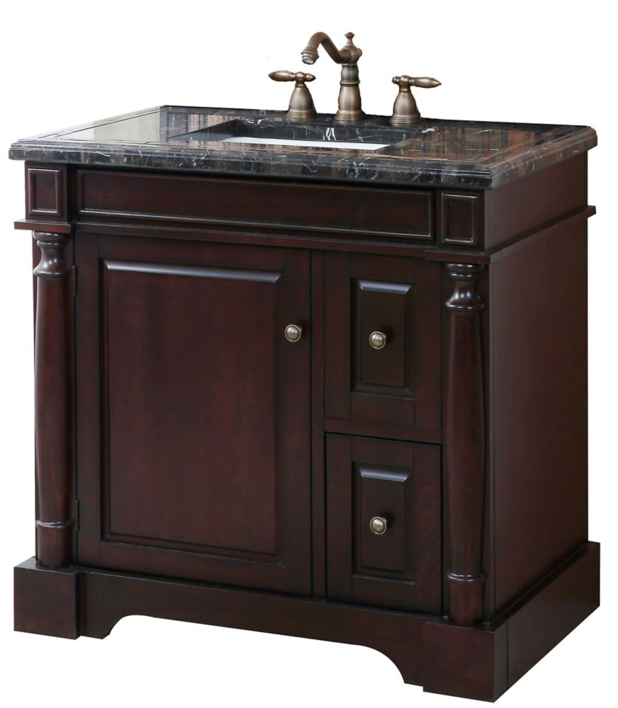 Hancock Vanity Base in Brown Finish with Mosaic Top and Sink