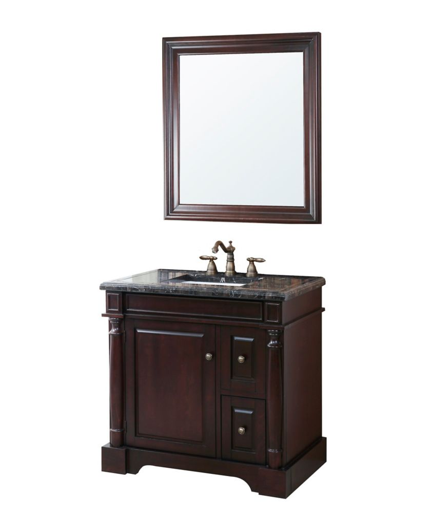 Hancock Vanity Base in Brown Finish with Mosaic Top, Sink and Mirror