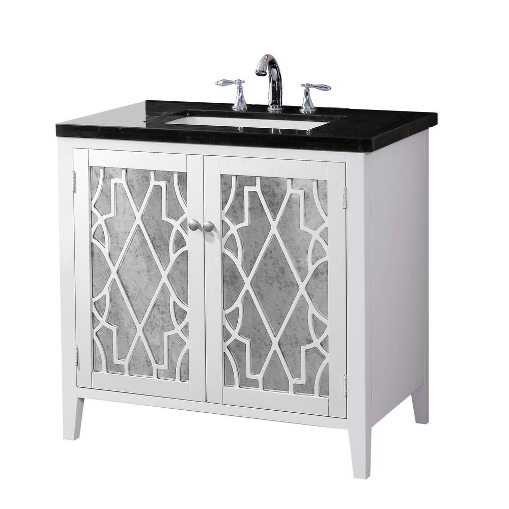 Crawford burke evelyn vanity base with marble top and sink the home depot canada for Bathroom vanity with mirror doors