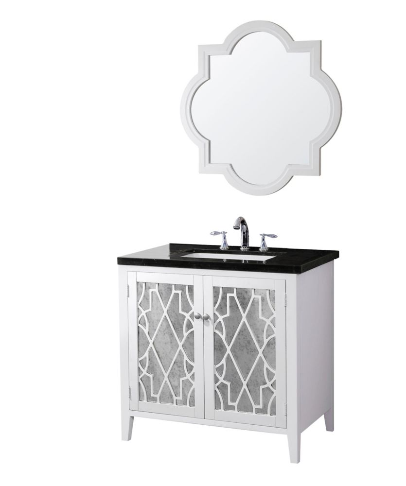Evelyn Vanity Base with Marble Top, Sink and Mirror