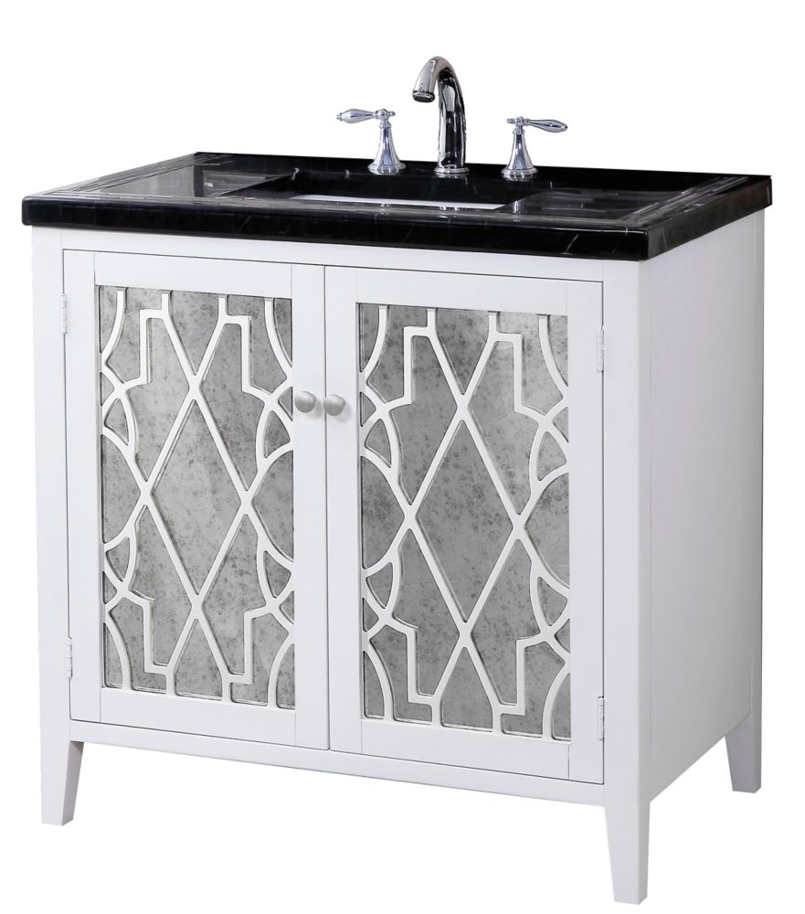 Evelyn Vanity Base with Mosaic Top and Sink