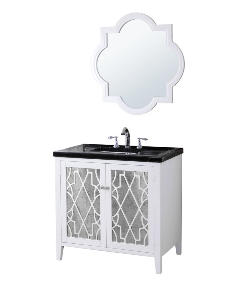Evelyn Vanity Base with Mosaic Top, Sink and Mirror