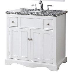 Crawford & Burke Morton 21-inch W 2-Drawer 2-Door Freestanding Vanity in White With Granite Top in Multi-Colour