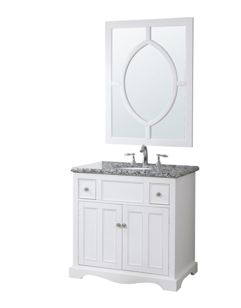 Morton Vanity Base with Granite Top, Sink and Mirror