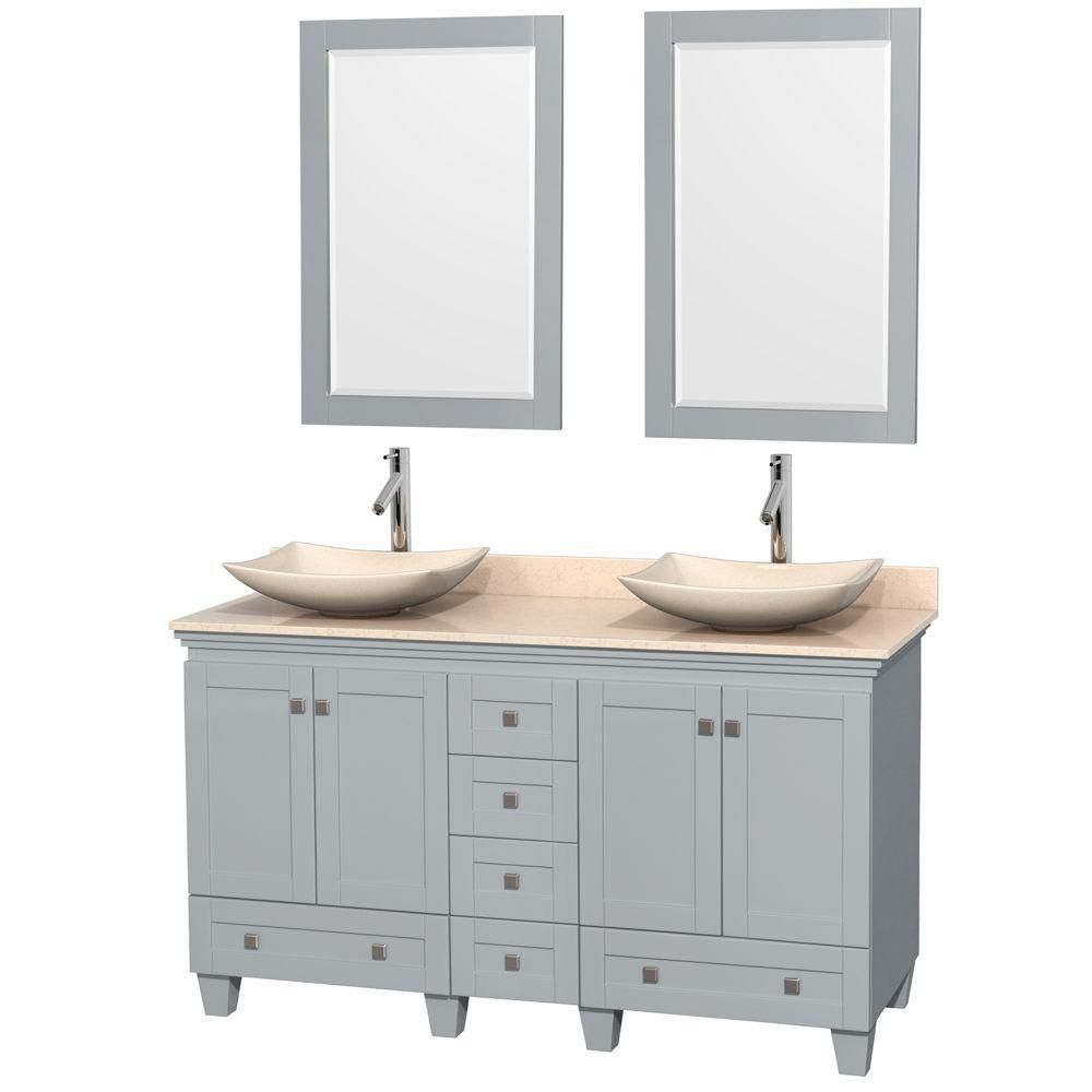 Acclaim 60-inch W Double Vanity in Oyster Grey with Marble Top, Marble Sinks and Mirrors