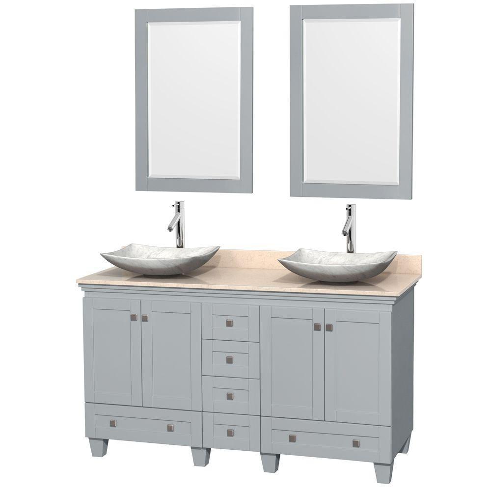 """Meuble s. bains dbl Acclaim 60"""" gris huître, comptoir marbre ivoire, éviers Carrare blc, miroirs ..."""