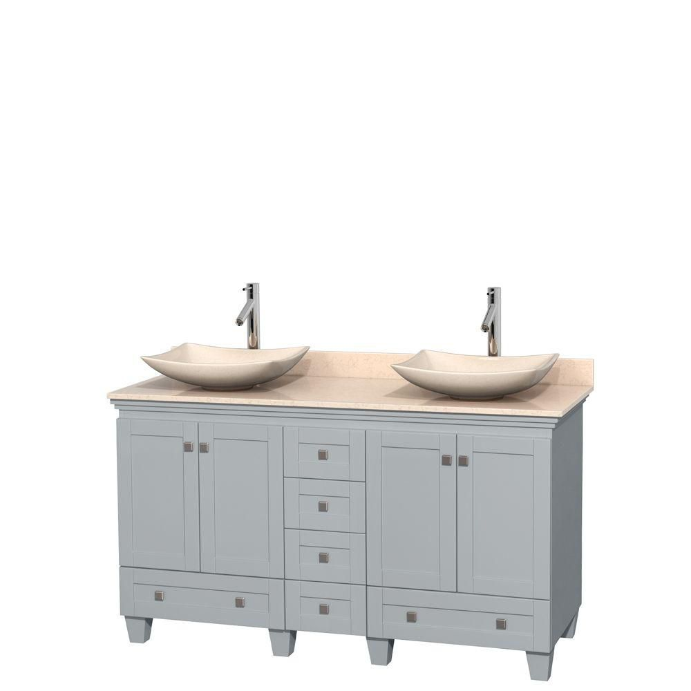 Acclaim 60-inch W Double Vanity in Oyster Grey with Marble Top and Ivory Marble Sinks