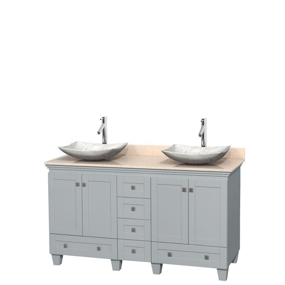 Acclaim 60-inch W Double Vanity in Oyster Grey with Marble Top and White Carrara Sinks
