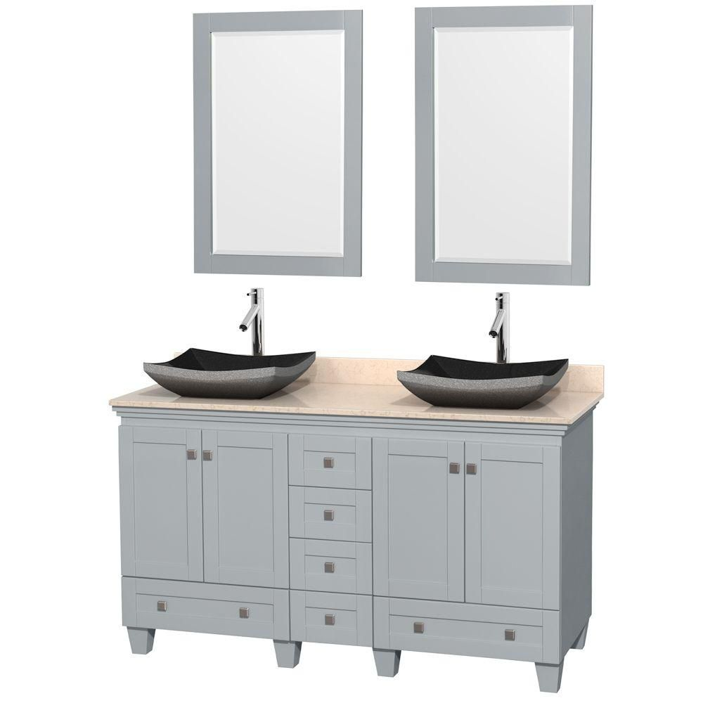 Acclaim 60-inch W Double Vanity in Oyster Grey with Marble Top, Granite Sinks and Mirrors